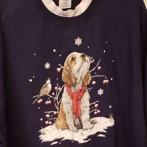 Adorable Dog winter scene Sweatshirt